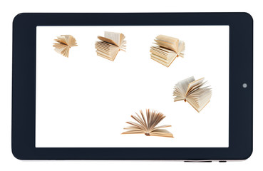 flying books on screen of black tablet-pc isolated