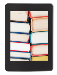 many of books on screen of e-book reader