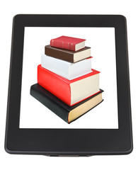 stack of books on screen of e-book reader