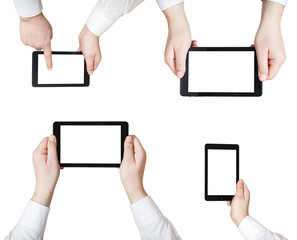 set of businessman hands with tablet pc isolated