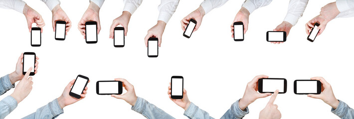 set of businessman hands with mobile phones