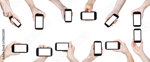 set of hands with mobile phones isolated - 78655389