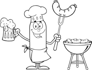 Black And White Happy Chef Sausage Character Holding A Beer