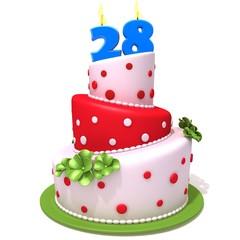 Birthday cake with number twenty eight
