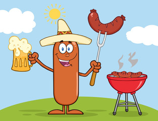 Happy Mexican Sausage Character Holding A Beer