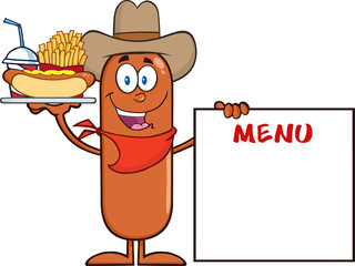 Cowboy Sausage Carrying A Hot Dog, French Fries And Cola