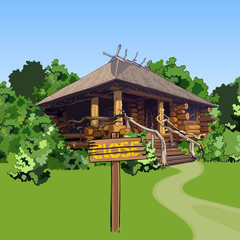 cartoon wooden house in the woods with a sign