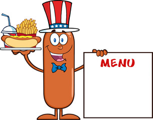 Sausage Character Carrying A Hot Dog, French Fries And Cola