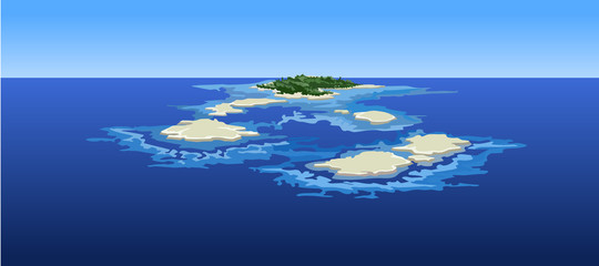 cartoon islands in the ocean, the view from the top
