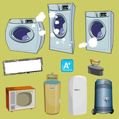 cartoon household items, different washing machine