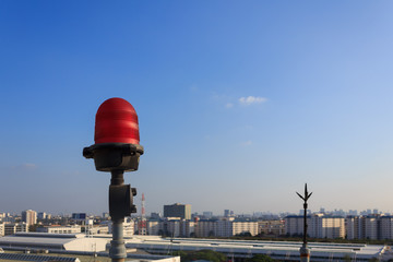 Obstruction light on rooftop