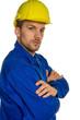 canvas print picture - Handwerker mit Helm