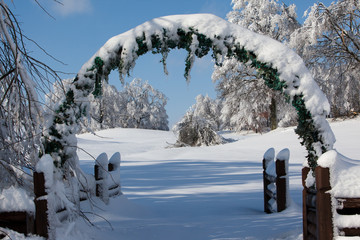 Arch covered with snow