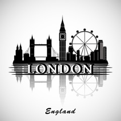 London City Skyline. Typographic Design. eps10 vector