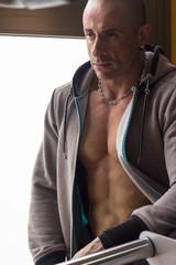 Handsome muscular mature man torso