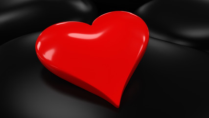 Glossy Red Heart on Smooth Stones