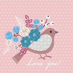 Vector background with bird