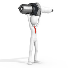 3d man businessman with detailed sparkplug