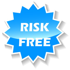 Risk free blue icon