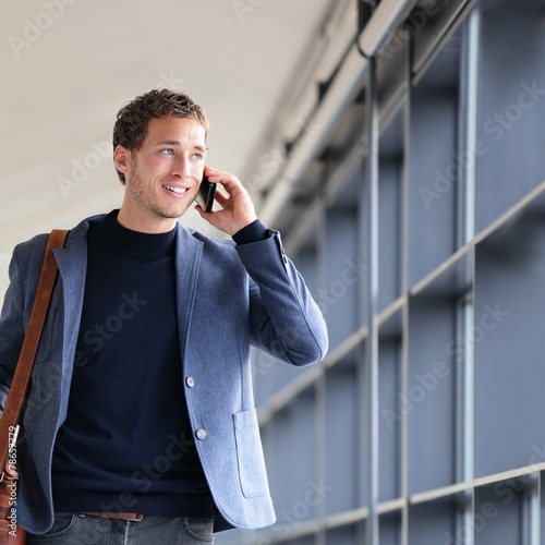 Smartphone businessman talking on smart phone - 78657779