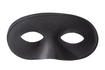 Carnival black mask isolated on white, clipping path
