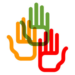 Color hands on a white background.