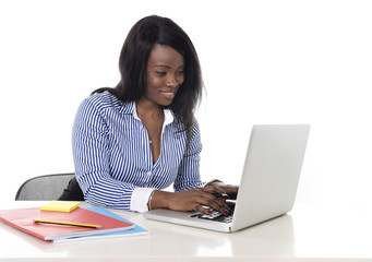 happy black african ethnicity woman working at office computer
