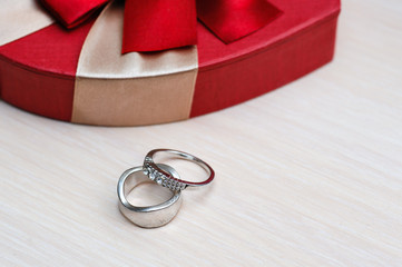 Two beautiful wedding rings on the table