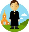 Catholic priest on church background in flat style - 78658943