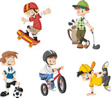 Fototapety Group of cartoon boys playing various sports