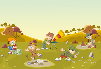 Cartoon explorer boys on green field wearing different costumes