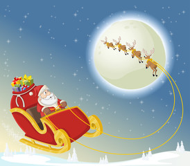 Santa Claus on sleigh with reindeer flying on christmas night