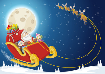 Santa Claus and children on sleigh flying on christmas night