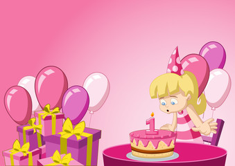 Cartoon blonde girl having fun at birthday party