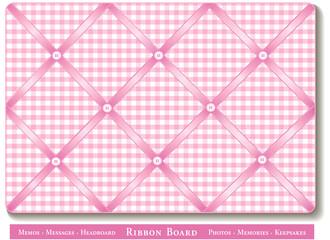 Ribbon Bulletin Board for photos, satin ribbon, gingham check