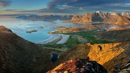 Norway motion Landscape panorama with oceen, Lofoten
