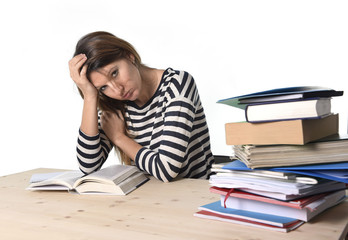 student girl studying exam tired and overwhelmed for exam