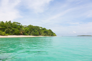 View to Zapatilla islands from the sea, Panama