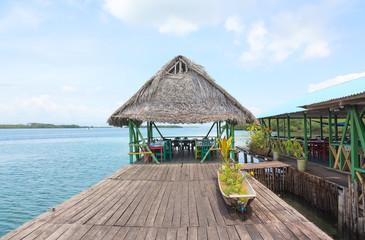Tropical restaurant on the stilts, Bocas del Toro, Panama