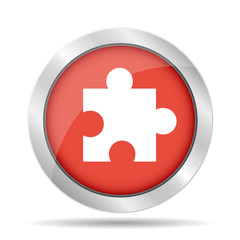 Puzzle Icon on Internet Button Original Vector Illustration