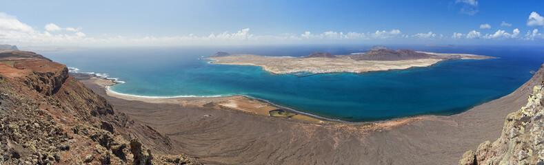 Mirador fel rio panorama. La Graciosa island. Lanzarote.Spain.
