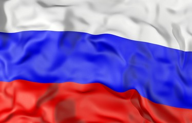 Russia corrugated flag 3D illustration