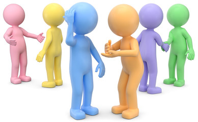 Gespräch Männchen Pastelfarben