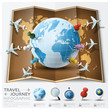 Travel And Journey World Map With Point Mark Airplane Route Diag