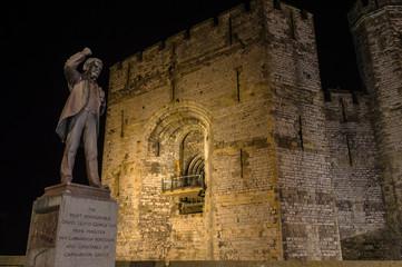 View on Lloyd George statue and Caernarfon Castle at night