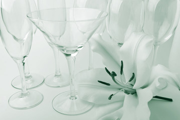 Dishware and lily