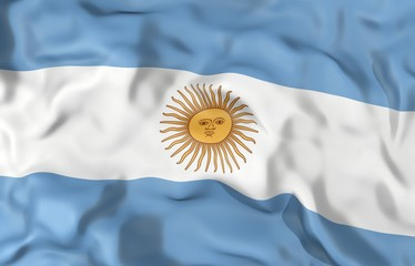 Argentina corrugated flag 3D illustration