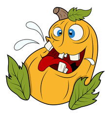 Funny Jack-o'-lantern Pumpkin with Leaves - Halloween Vector