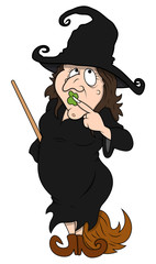 Fat Ugly Witch Standing with Broom Stick - Halloween Vector