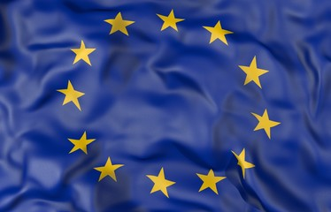 European Union corrugated flag 3D illustration
